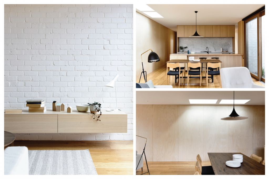 Casa minimalista na Austrália, com tijolinho branco e madeira.