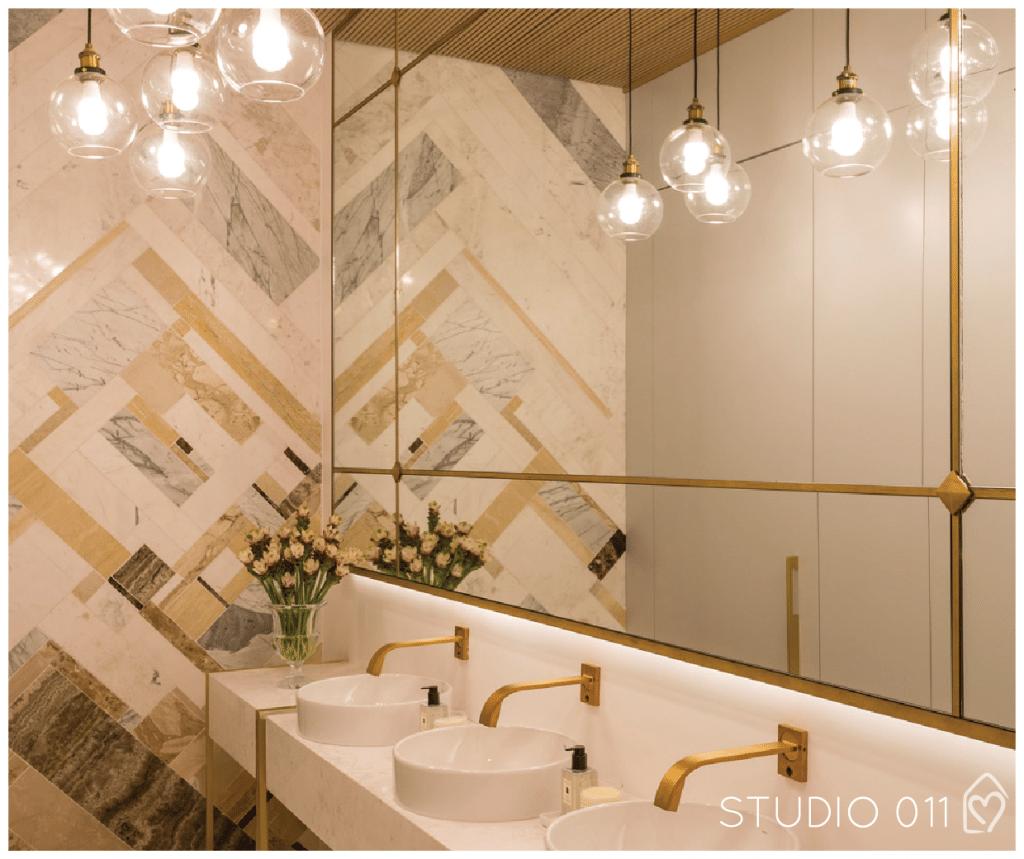 Casa das Amigas 3 banheiros da Casa Cor SP 2016 #cdanacasacor Casa  #B97812 1024x859 Arquitetura Banheiros Sp
