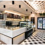 Restaurante de sopas e saladas com visual de picnic