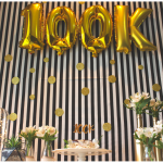 Festa de 100K – decor preto & branco & gold