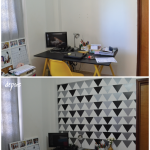DIY – parede de triângulos + apê da Isa