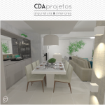Sala integrada em tons neutros | CDA Projetos
