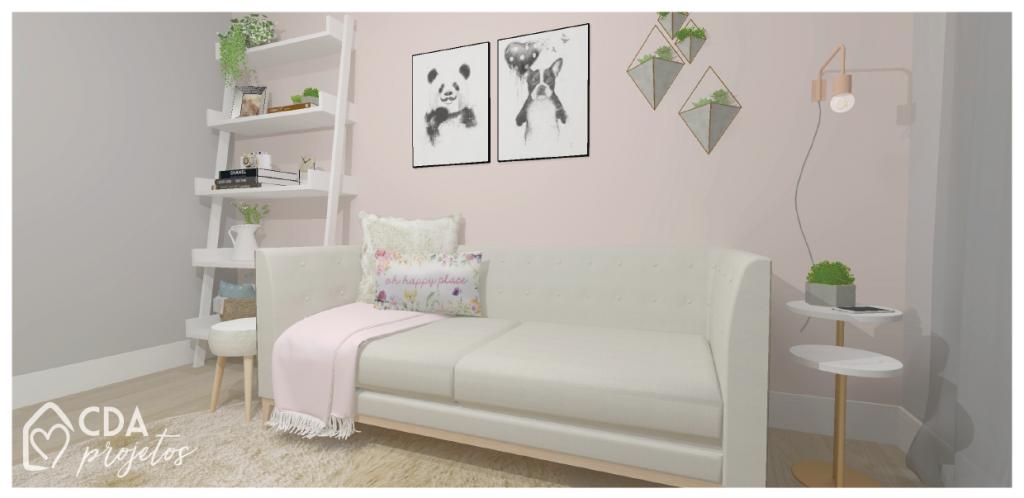 Sala de estar com parede em tom de rosa, cor Cheia de Charme da Suvinil.