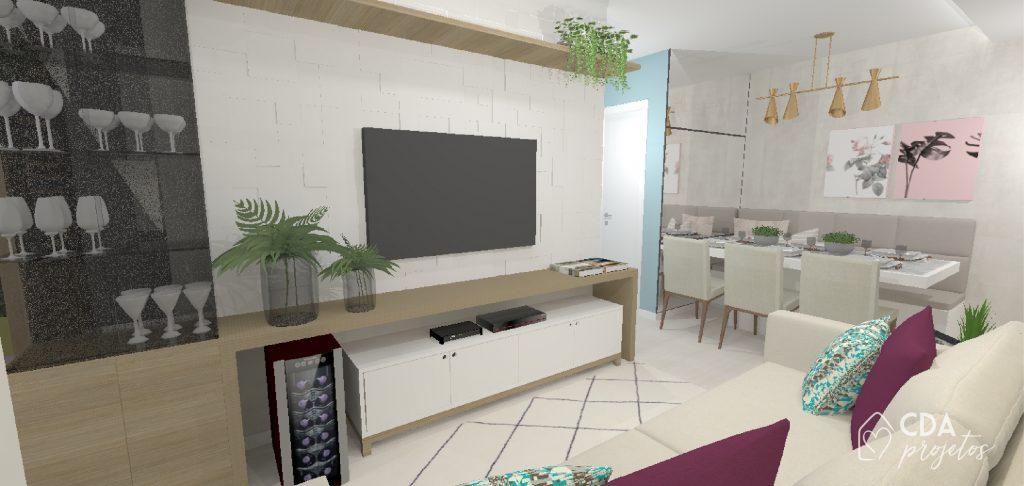 sala de estar e jantar integrados, com tv, parede com revestimento 3D, adega, cristaleira, parede de cimento queimado e espelho.