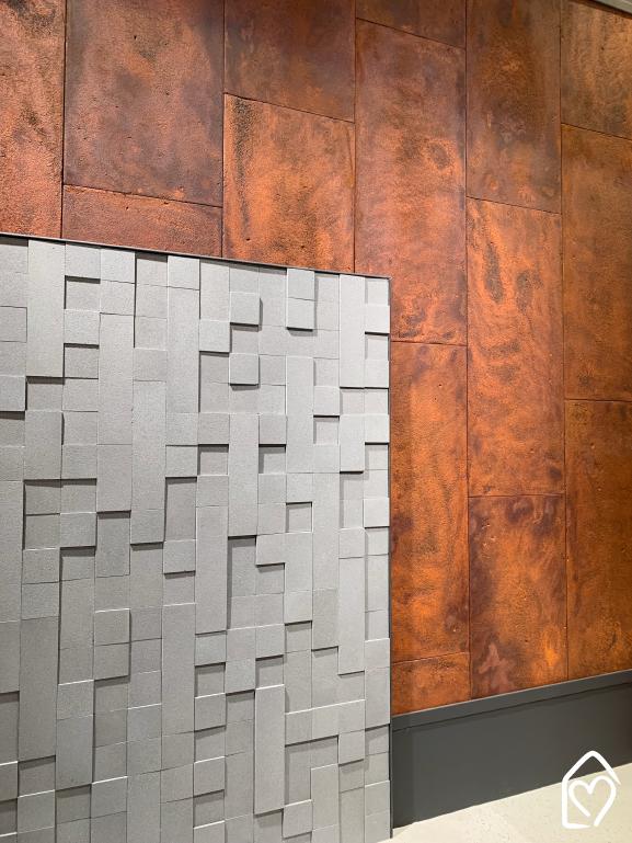 Revestimento Corten, da Castelatto, inspirado no aço cortes, mas com a praticidade do concreto arquitetônico.