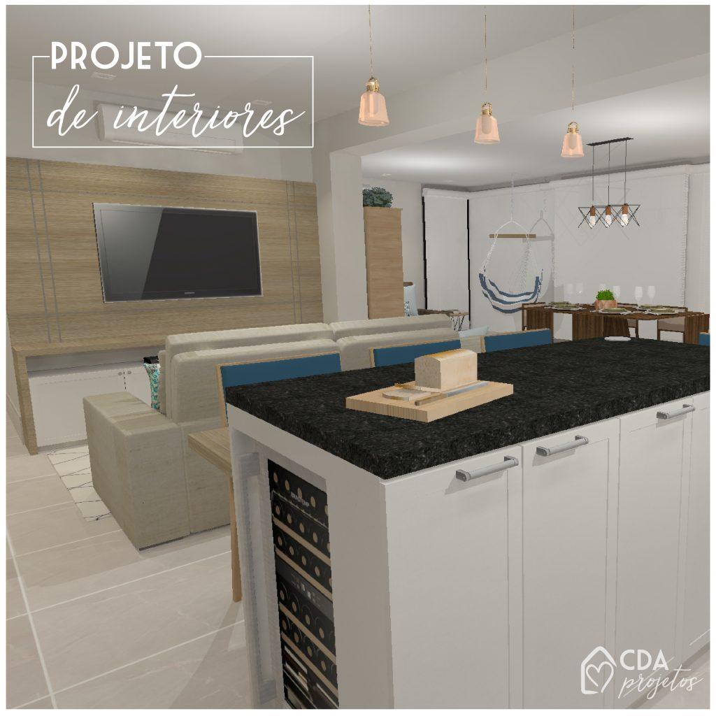 Nesse projeto, vemos a cozinha, sala e varanda integrados, formando um grande espaço de convivência dentro do apartamento.