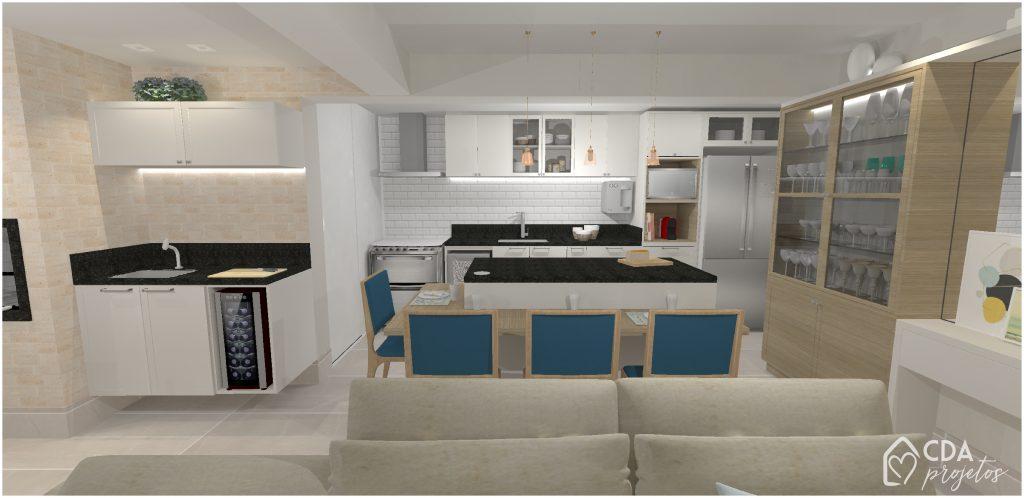 Aqui temos a cozinha com uma ilha, que acomoda até 4 pessoas. Além disso, a cristaleira traz um charme pro espaço. Adoramos como a cozinha, sala e varanda integrados ficaram espaçosos e bem aproveitados.