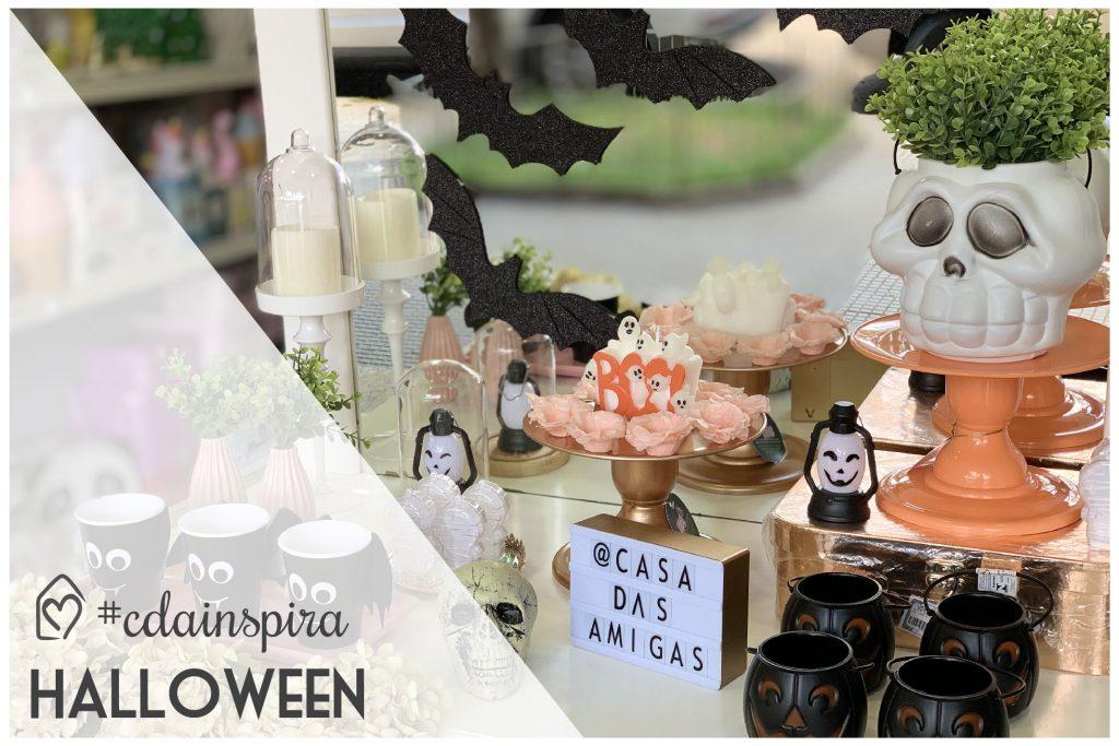 mesa de doces para o halloween, fugindo do óbvio. Usamos laranja, preto, branco, mas também rosa e tons metalizados.