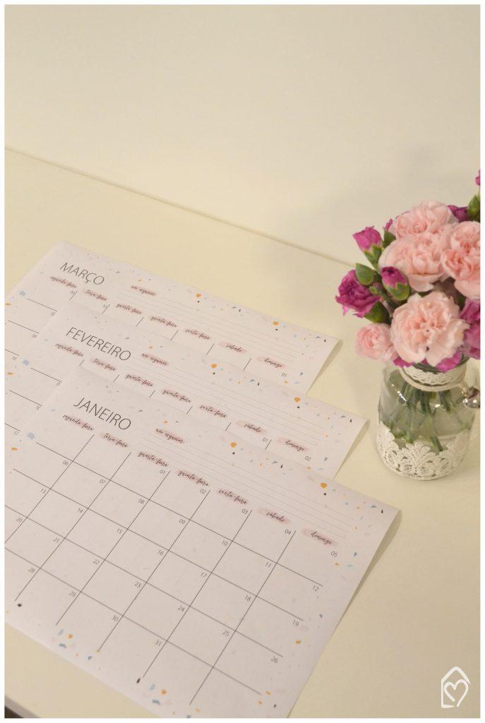 Calendário do 1º trimestre de 2020, gratuito pra baixar no blog.