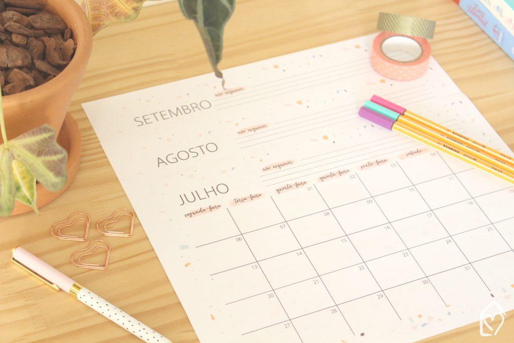 calendário 3º trimestre de 2020, ótimo pra organizar as atividades do trabalho, da escola, ou de casa!
