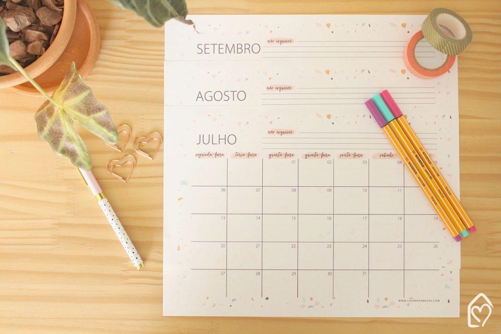 calendário do 3º trimestre, perfeito pra organizar o mês.